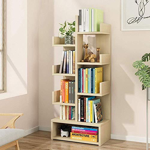 Gal Estantería de almacenamiento en forma de árbol, estantería para libros, libros, CD, álbumes, archivos, librería (color: nogal, tamaño: 109 x 40 x 21,5 cm)