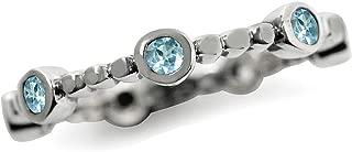 Genuine Blue Topaz 925 Sterling Silver Stack Stackable Ring