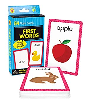 Carson Dellosa First Words Flash Cards—Double-Sided Common Words With Illustrations Basic Animals Food Objects Phonics and Reading Readiness Practice Set  54 pc