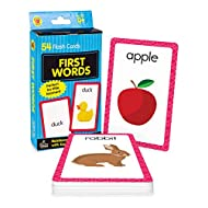 Carson Dellosa First Words Flash Cards—Double-Sided, Common Words With Illustrations, Basic Animals, Food, Objects, Phonics and Reading Readiness Practice Set (54 pc)