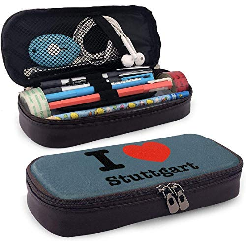 Ich liebe Stuttgart Leder Federmäppchen tragbare Reise-Kosmetiktasche