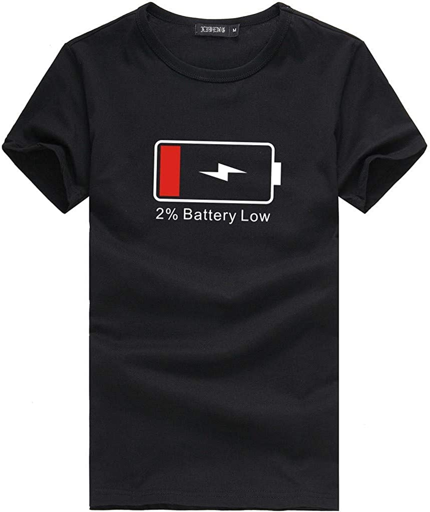 ZZpioneer Battery Low & Charged Men's & Women's Matching Couples T-Shirt Valentine's Day Short Sleeve Tops Blouses
