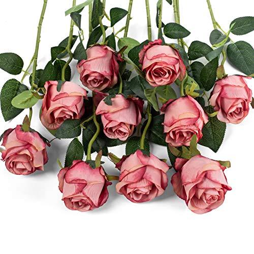 Flojery 10 künstliche Rosen mit langem Stiel, künstliche Seidenrosen für selbstgemachte Hochzeitsstrauß, Tischdekoration, Heimdekoration (Rose rot)