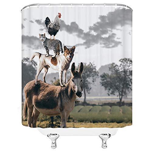 kuanmais Lustige duschvorhang Esel H& Katze Huhn duschvorhang Badezimmer Dekoration formbeständig wasserdicht 180x240cm