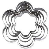 Angoily 5 Unids Cortadores de Galletas de Acero Inoxidable Set Moldes de Cortador de Fondant de Pan de Galletas en Forma de Flor para Hornear en La Cocina