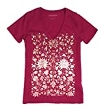 Lucky Brand Women's Floral Foil Tee, Berry, S