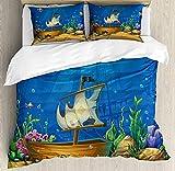 ABAKUHAUS Acuario Funda Nórdica, Bajo el Agua con el naufragio, Decorativo 2 Piezas con 1 Funda de Almohada, 130 x 200 cm - 70 x 50 cm, Azul de Cobalto y Multicolor