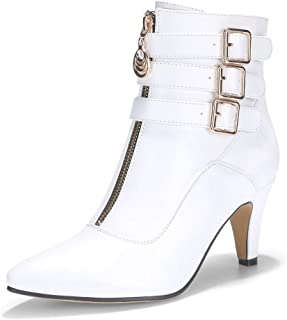 Women's Amanda-C Pointed Toe Buckle Strap Ankle Booties Medium Chunky Heel Short Boots with Zipper