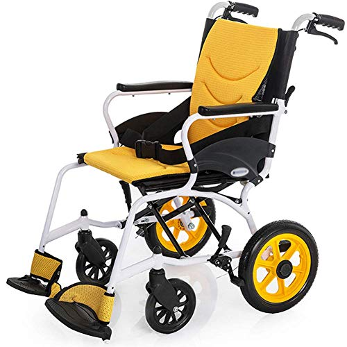qazxsw Foldable Wheelchair Manual Wheelchair for Disables and Elderly, Lightweight Aluminium Self Propel Wheelchair with Handbrakes and Quick Release Rear Wheels Seat Belt