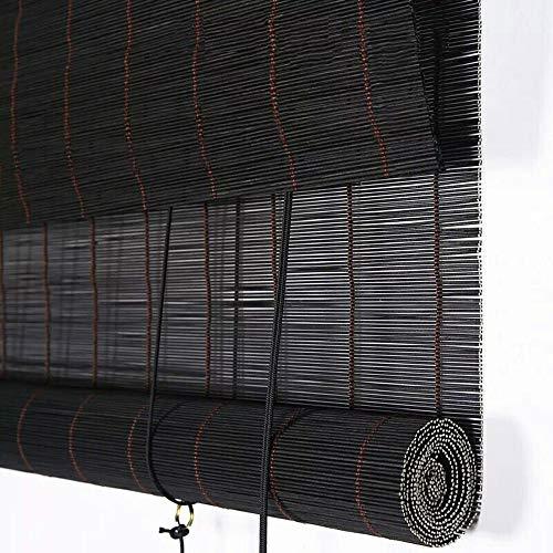 Vicareer Bambou Noir Roll Up Stores-fenêtre Stores-Lisse Bois Shades-Stores à enrouleur Pour Porte Patio intérieure Balcon Salon de thé, Rideaux de levage Anti-buée -Customizable