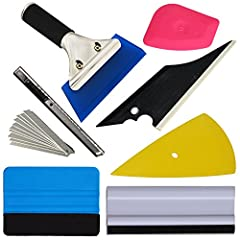 """Car Automotive Window Vinyl Film Wrap Application Installation Vehicle Tinting Tools Kit Set This kit set has: Rubber Jelly Squeegee, 4"""" Felt Squeegee, Little Pink Scraper, Contour Squeegee, Conqueror Squeegee, 6"""" Block Squeegee, Film cutter with 10 ..."""