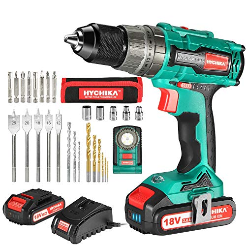 Brushless Drill 18V, HYCHIKA 60N·m Electric Drill with 2x2000mAh Batteries, 21+3 Clutch, 2 Variable...