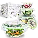 Fresh Master Set di insalatiere in vetro antigoccia e ermetico con coperchio, contenitori in vetro per insalata