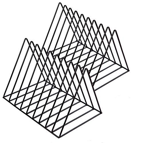 Yazoo Vinyl Record Holder 2-Pack - Elegant Triangle Storage Stand, Album, Magazine Organizer Rack - Durable Metal Home Desktop File Sorter - Versatile Shelf Display Box for LP Albums, Photo Props