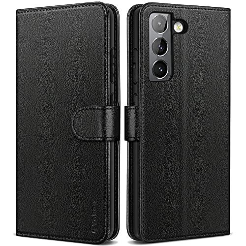 Vakoo Handyhülle für Samsung Galaxy S21 Hülle Leder Schutzhülle Kompatibel mit Samsung S21 5G Hülle, mit RFID Schutz, Schwarz