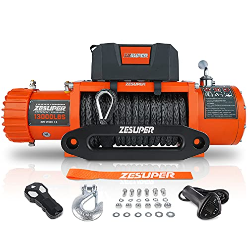 ZESUPER 13000 lbs Electric Winch Kit Waterproof IP67 Electric Winch Synthetic Rope, with Wireless Remote, Corded Handle and Fairlead, for Truck SUV Recovery