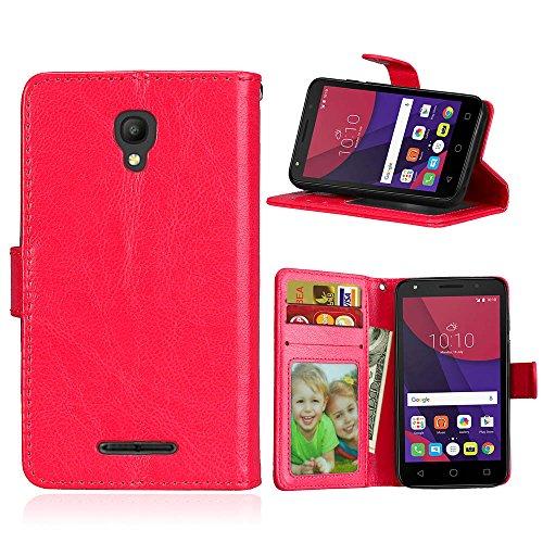 Handy Kasten für Alcatel Pixi First (4.0) OT4024D 4027D,Bookstyle 3 Card Slot PU Leder Hülle Interner Schutz Schutzhülle Handy Taschen-Rot