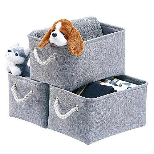 AlphaHome Fabric Storage Boxes, Foldable Linen Large Storage Baskets for Nursery, Closet and Wardrobe, Set of 3, Glaucous Grey, Large