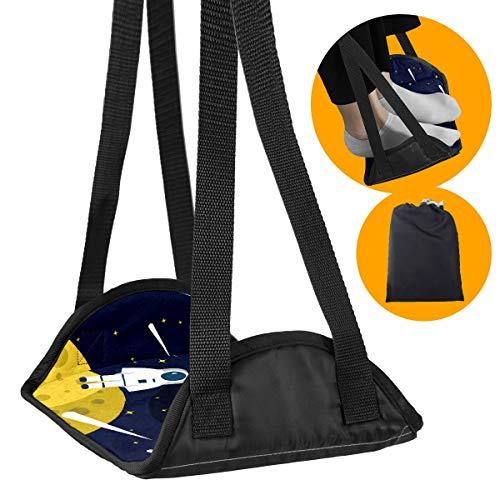 BONIPE - Reposapiés de avión Galaxy Planet Astronauro Tierra Estrellas Portátil Avión Accesorios de Viaje Utilizables para Avión Oficina Hogar Piernas Hamaca Bajo Escritorio con Altura Ajustable
