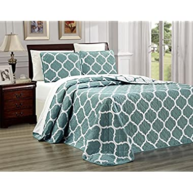 3-Piece Fine printed Oversize (100  X 95 ) Quilt Set QUATREFOIL Reversible Bedspread Coverlet FULL / QUEEN SIZE Bed Cover (Light Blue)