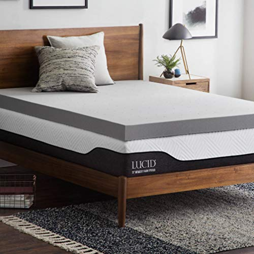 Lucid 4 Inch Bamboo Charcoal Memory Foam Mattress Topper -...