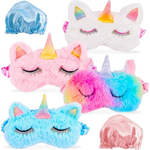 Sleep Mask for Kids Sleeping Pack 4 Pcs Cute Funny Soft Eye Shade Unicorn Sleeping Plush Blindfolds product image