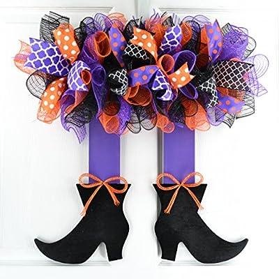 Halloween Witch Legs Door Wreath; orange, black, white, purple