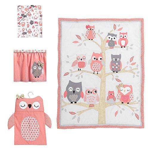 Lambs & Ivy Family Tree 4-Piece Crib Bedding Set - Pink, Gray, White, Coral