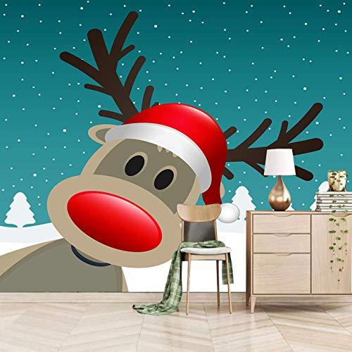 Msrahves fotomurales decorativos pared Dibujos animados Navidad alces nieve Decoración de Pared decorativos Murales Para sala de estar TV fondo pared Murales de pared papel pintado papel de pared dorm