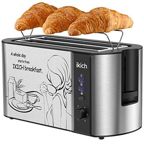IKICH Toaster 4 Scheiben, Automatik-Toaster/Edelstahl Toaster Langschlitz , 2 Langschlitzkammer(6 Bräunungsstufe/ Auftau & Aufwärm & Stopp/ integrierter Brötchenaufsatz/ Brotzentrierung/1500W)