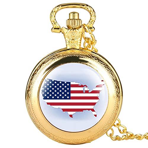 JTWMY Estados Unidos Mapa Patrón Pantalla Retro Collar Relojes Colgante Reloj de Bolsillo Regalos Hombres Mujeres Niños-Oro