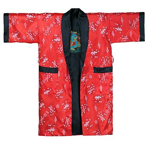 Princess of Asia Japanischer Wende-Kimono Satin Morgenmantel für Damen & Herren mit Drachen-Stickerei Rot