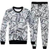 Ancia Womens Emoji 100 Scores Printed Pullovers Sweatshirts/Joggers Sweatpants Set(Bills,XL)