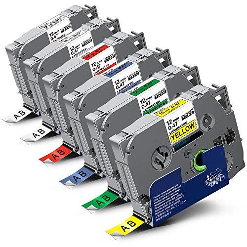 6x Labelwell 0.47 12mm x 8m Sostituzione Nastro Compatibile per Brother Tz Tze-231 Tze-131 Tze-431 Tze-531 Tze-631 Tze-731 per Brother P-Touch GL-H100 PT H100LB PTH101C PTP700 PTE100 PTD600VP PTD400VP