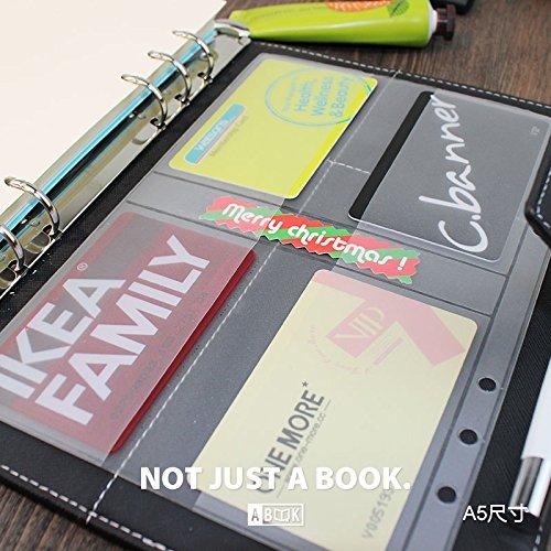 8.5インチプラスチック A5 6穴カバー ラウンドリングビューバインダー ファイルフォルダー ルーズリーフシートプロテクター/ノートブック リフィル/DIYスクラップブック/バインダーカバープロテクター,A5 名刺バッグ 4PCS,1パッケージ