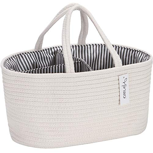 Hinwo - Carrito pañales para bebé 3 compartimentos, contenedor almacenamiento guardería, organizador portátil coche, cesta regalo ducha recién nacidos, cuerda algodón divisor desmontable pañales