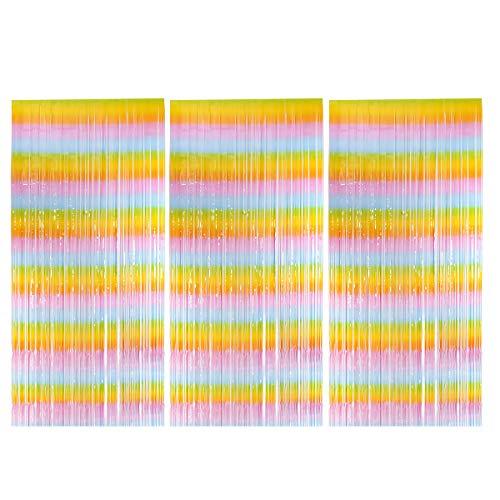 Fodlon 3 Stück Lametta Vorhänge für Geburtstag, 1m X 2m Folienvorhänge Lametta Hintergrund Regenbogen für Partydekoration