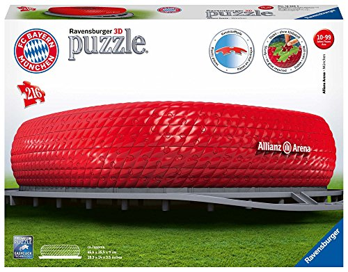 Ravensburger 3D Puzzle Allianz Arena mit 216 Teilen, FC Bayern München Fanartikel für Kinder ab 10 Jahren und Erwachsene, Stadion im Miniatur-Format