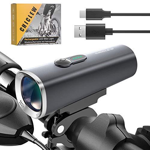 CHICLEW Fahrradlicht LED, Fahrradlicht USB Aufladbar, IPX5 Wasserdicht Fahrradbeleuchtung StVZO Zugelassen, 50 Lux Fahrradlampe für Mountainbikes Oder Rennräder Nachtreiten