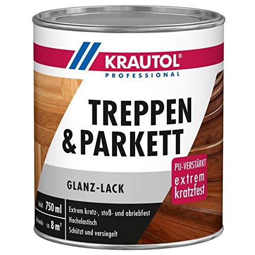 Krautol Treppen- und Parkettlack glänzend, extrem kratz-, stoß- und abriebfester Acryl-Lack, farblos,750 ml