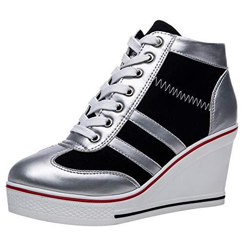rismart Mujer Tenis de Lona con Tacon Cuña Zapatillas Sneakers Plataforma Alta Altos Zapatos SN02513(Plateado,38 EU)