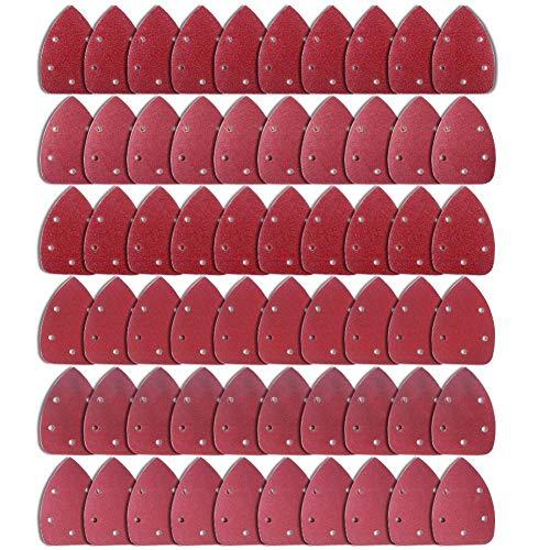 AUSTOR 60 stücke Klett-Schleifdreiecke Maus Detail Schleifpapier 5 Loch je 10 x 40 / 60 / 80 / 120 / 180 / 240 Körnung Für Dreieckschleifer Schleifer