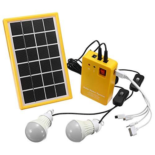 SISHUINIANHUA Light Solar Power Panel Generador Kit Generador de 5V USB Cargador Sistema de Inicio con 3 Bombillas LED Interior/Iluminación al Aire Libre sobre la Descarga Protección