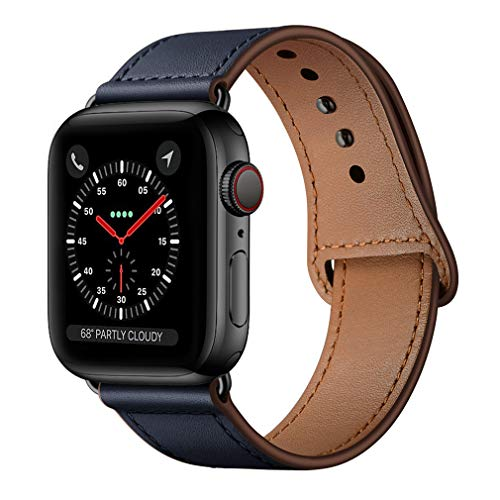 KYISGOS Compatible with iWatch Band 44mm 42mm, Genuine Leather Replacement Band Strap Compatible with Apple Watch Series 5 4 3 2 1 42mm 44mm, Dark Blue Band with Black Adapter
