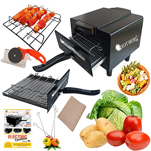 Hotlife Iron Electronic Tandoor Combo with Pizza Cutter, Magic Cloth, Grill, Skewers, Aluminium Tray and Recipe Book
