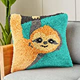 DIY Latch Hook Kits Pillow Case Embroidery Carpet Set Needlework Pillow Cover Sofa Cushion Cover Craft Kits 17x17 inch (Sloth)