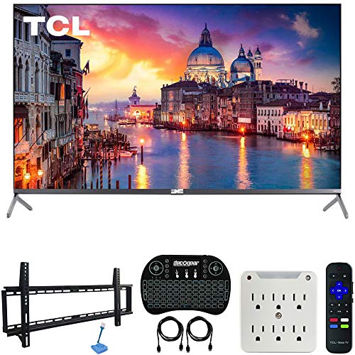 TCL 55R625 55-inch 6-Series 4K QLED UHD HDR Roku Smart TV (2019 Model) Bundle with 37-70-inch Low Profile Wall Mount Kit, Deco Gear Wireless Keyboard and 6-Outlet Surge Adapter with Night Light