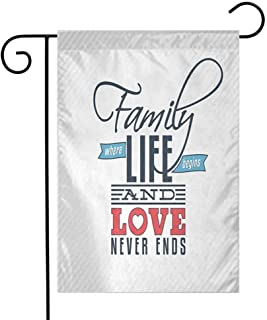 Zmstroy Personality Garden Flag, Family, Vintage Greeting Card Inspired Design with a Quote About Family and Love, Indoor Banner Wedding Party Decor, 12.5 x 18 Inch, Black Light Blue Red