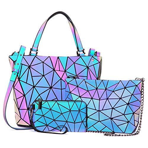 LOVEVOOK Handtasche Set Damen, Geometrische Holographic Taschen, 3pcs Umhängetasche Henkeltasche Geldbörse PU Leder, Leuchtende Schultertasche, Beste Geschenk für Frauen