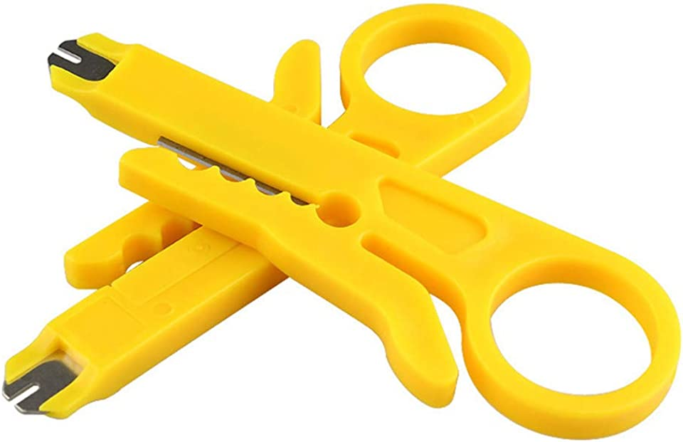 Abisolierzange Punch Down Tool Anlegewerkzeug Auflegewerkzeug Professionell für Telefon-Stecker RJ45 CAT5 IDC Netzwerkdosen Verlegekabel Patchpanel Netzwerkverdrahtung Schneidklemmen 9cm